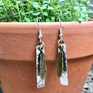 handmade Jewelry - Hand stamped hammered metal earrings